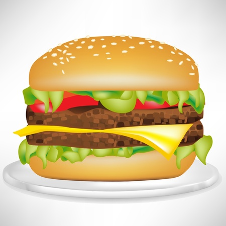delicious burger on plate isolated on white Stock Vector - 10886915