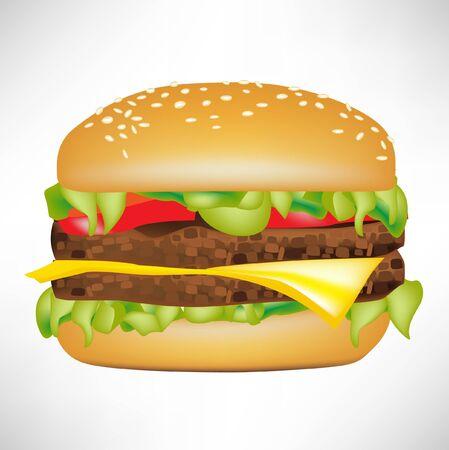 medium size burger isolated on white Stock Vector - 10886757