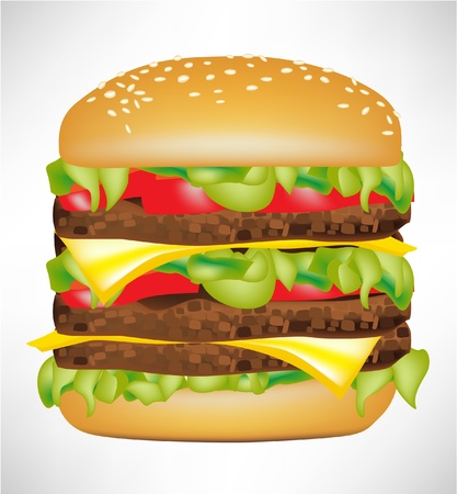 american cuisine: big delicious burger isolated on white