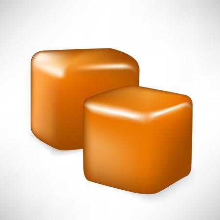 dulce de leche: dos piezas con forma de caramelo cubo aislado en blanco