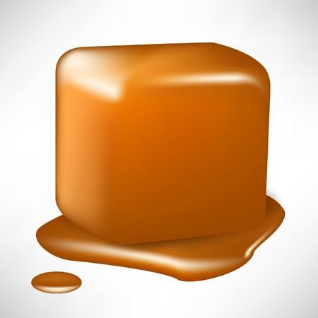 キャラメル: 白で隔離される単一の溶けたキャラメル キューブ