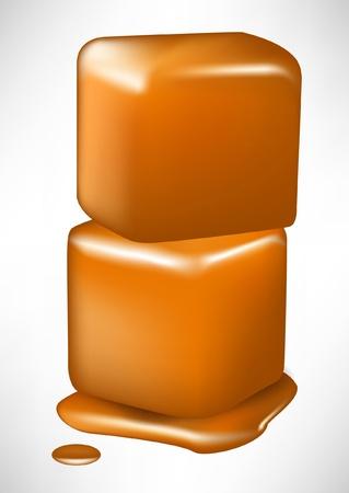 pile of two caramel melting cubes isolated