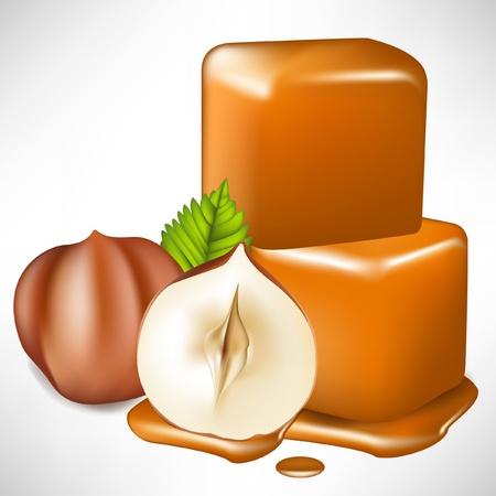two caramel cubes melting and hazelnuts isolated on white