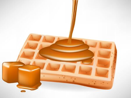 caramel: belgian waffles with caramel pouring isolated on white