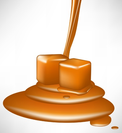 caramel syrup and pieces pouring Illustration
