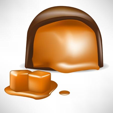 toffee: chocolade snoep gevuld met karamel op wit wordt geïsoleerd Stock Illustratie