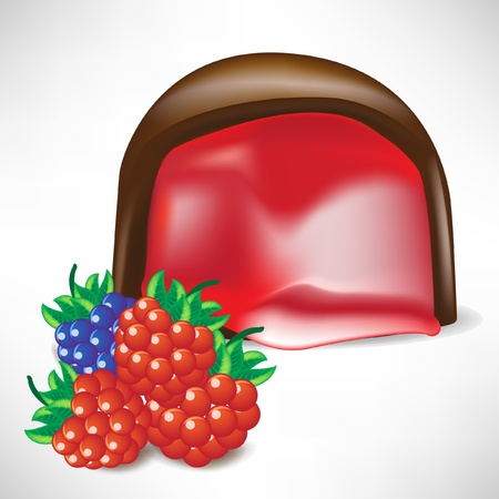cream filled: chocolate candy filled with berry cream Illustration