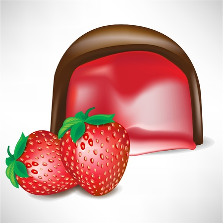 temptation: chocolate candy with strawberry filling isolated on white