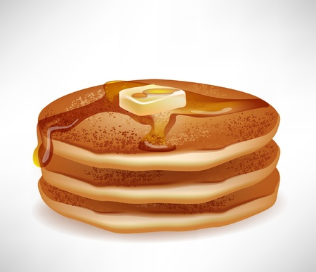 simple pancakes with butter and caramel syrup isolated on white Vector
