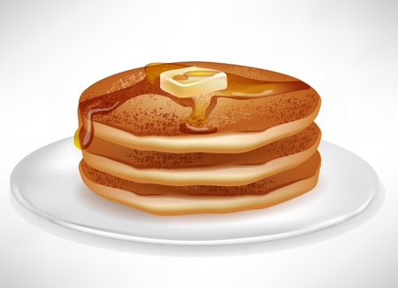 hotcakes: pancakes with butter and caramel syrup on plate