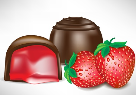 toffee: two cocolate candy pieces with strawberry filling and fruit