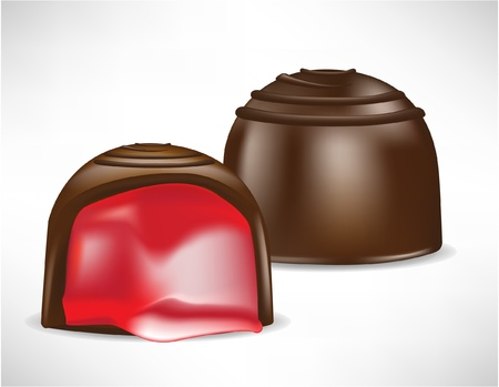 cream filled: chocolate bonbon filled with cherry cream Illustration