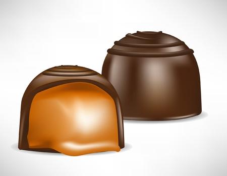 cream filled: chocolate bonbon filled with caramel cream