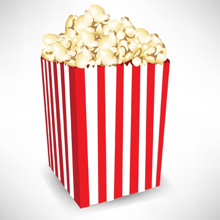 strippad: stripped box of popcorn isolated on white