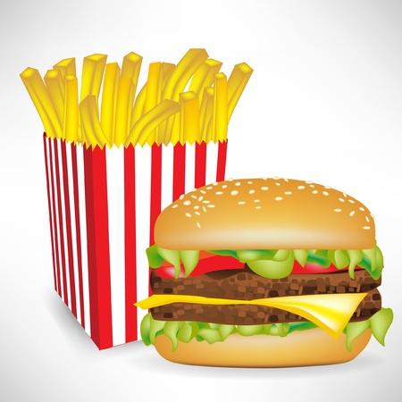 Comida rápida y papas fritas francés parte hamburguesa aislada en blanco