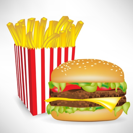 fastfood french fries portion and burger isolated on white