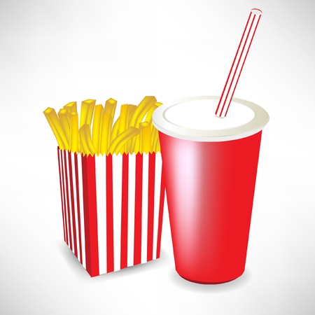 fast food french fries and juice isolated on white Stock Vector - 10886934