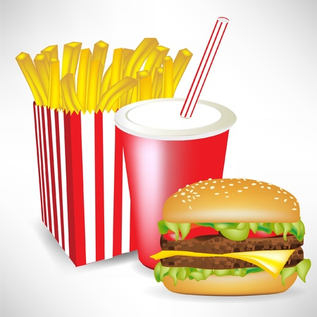 french fries burger and juice isolated on white