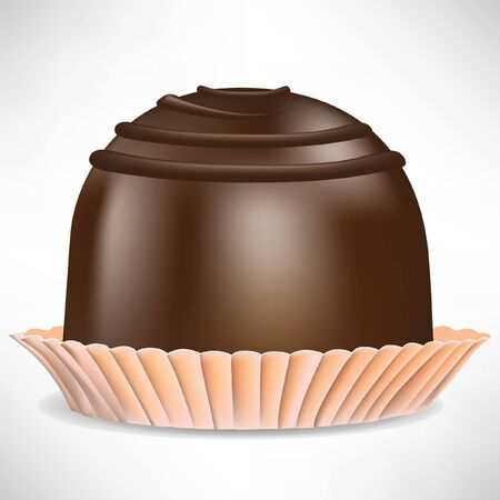 bit: enda bit choklad godis isolerade på vitt Illustration