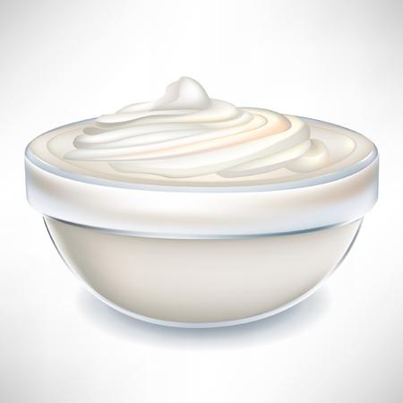agrio: Crema de yogur en Bol transparente aislado en blanco Vectores