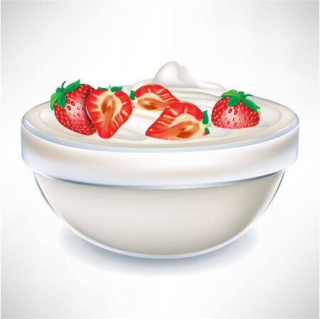 sour cream: yogurt cream in transparent bowl with strawberry isolated