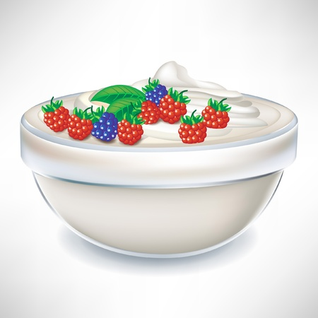 yogurt cream in transparent bowl with berry isolated Vector