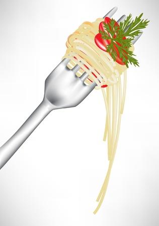 plato pasta: espaguetis frescos en el tenedor con la salsa de tomate aisladas Vectores