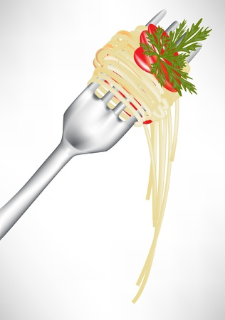noodles: fresh spaghetti on fork with tomato sauce isolated