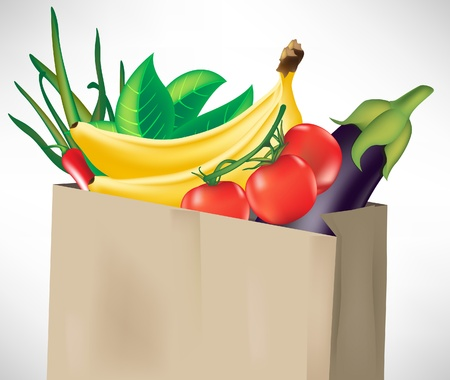 onions: grocery bag with fruits and vegetables isolated