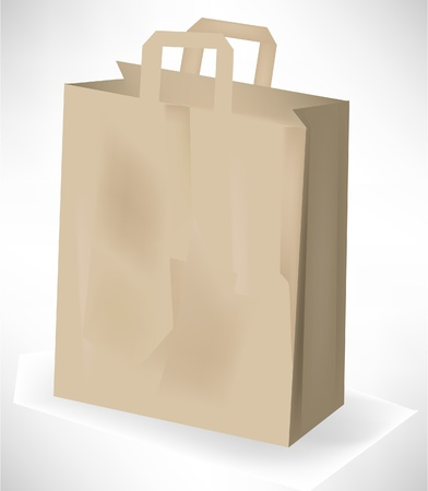 disposable: empty grocery paper bag isolated on white