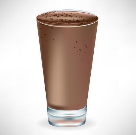vaso de leche: vidrio simple batido de chocolate aislado en blanco Vectores