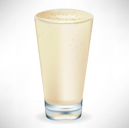 frozen glass: simple vanilla milkshake isolated on white Illustration