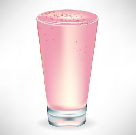 fruit smoothie: simple glass with strawberry milkshake isolated