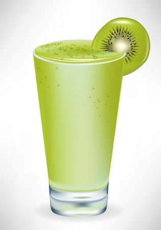 cold drink: glass with kiwi milkshake isolated on white