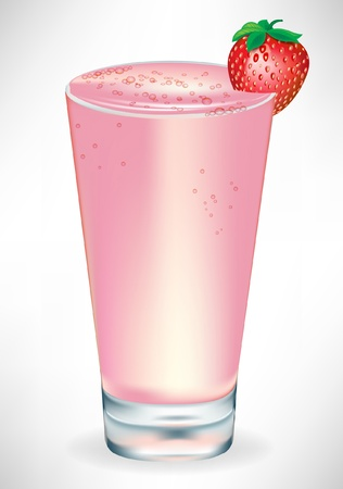 smoothie: glass with strawberry milkshake isolated
