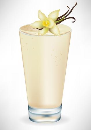 frozen drink: vanilla milkshake in glass isolated on white