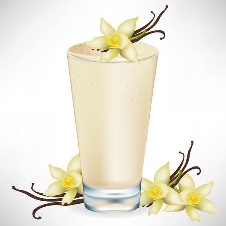 vanilla milkshake with vanilla flower isolated