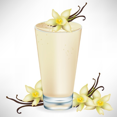 smoothie: vanilla milkshake with vanilla flower isolated