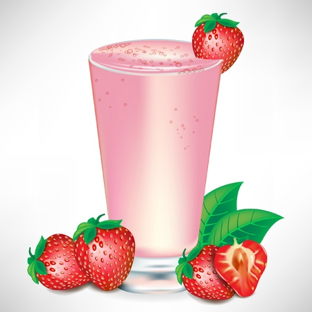 fruit smoothie: strawberry milkshake with strawberry fruit isolated Illustration