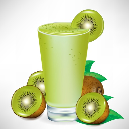 yogurt ice cream: kiwi milkshake with kiwi fruit and pieces isolated