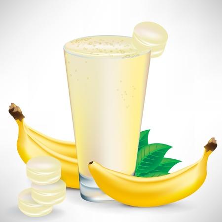 licuado de platano: Batido de banana con banano frutas y piezas aisladas Vectores