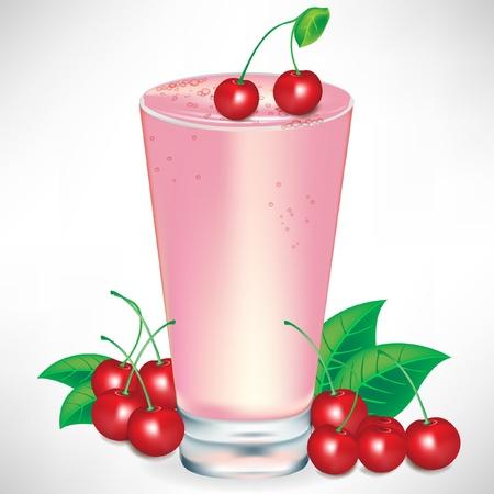 frozen drink: cherry milkshake with cherry fruit isolated