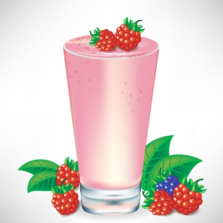 fruit smoothie: berry milkshake with berry fruit isolated