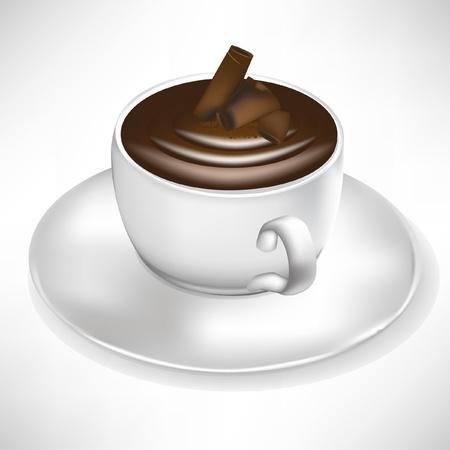 hot chocolate drink: taza de crema de chocolate aislado en blanco