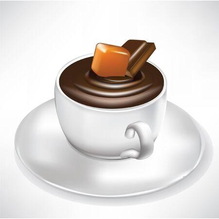 hot chocolate drink: chocolate caliente y sabor a caramelo aislado en blanco
