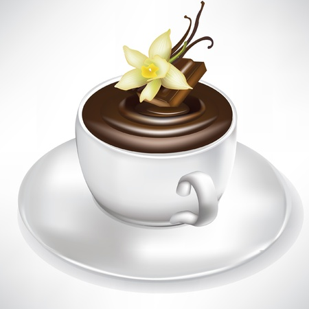 hot cocoa: hot chocolate cup with vanilla flavor isolated on white Illustration