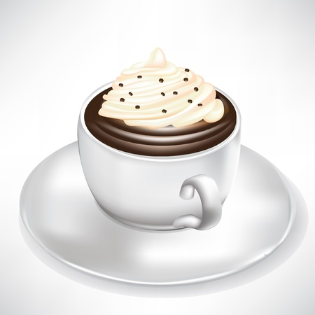 melting chocolate: hot chocolate cup with whipped cream isolated Illustration