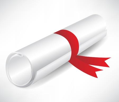 zertifizierung: Diplom mit Band isoliert auf wei�em Hintergrund Illustration