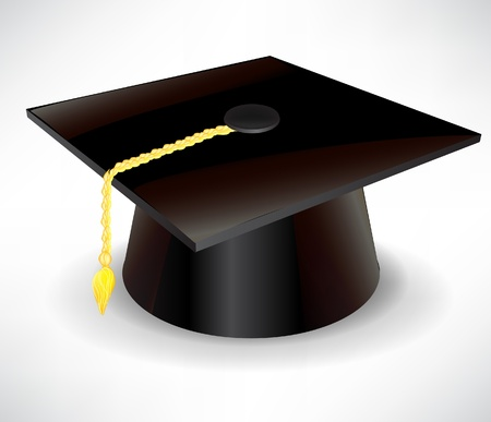 master degree: single graduation cap isolated on white Illustration