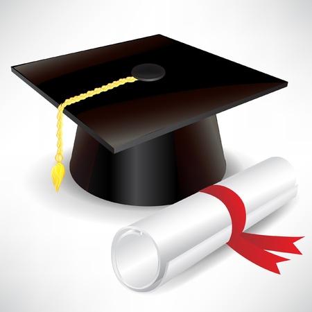 gorro de graduación y diploma aislados en blanco Ilustración de vector